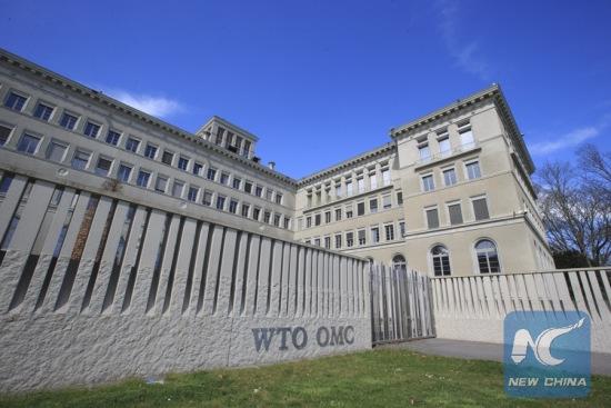 Photo taken on April 12, 2018 shows the World Trade Organization headquarters in Geneva, Switzerland. (Xinhua/Xu Jinquan)