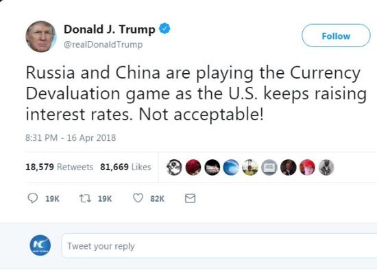 U.S. President Donald Trump's tweet.