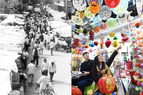 A composite of the first generation of Yiwu small commodities market in 1982 and the market now in February, 2018. (Photo/China.org.cn)