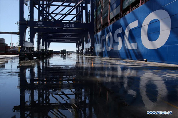 China's COSCO Shipping Taurus docks at Piraeus port, Greece, Feb. 26, 2018. (Xinhua/Marios Lolos)