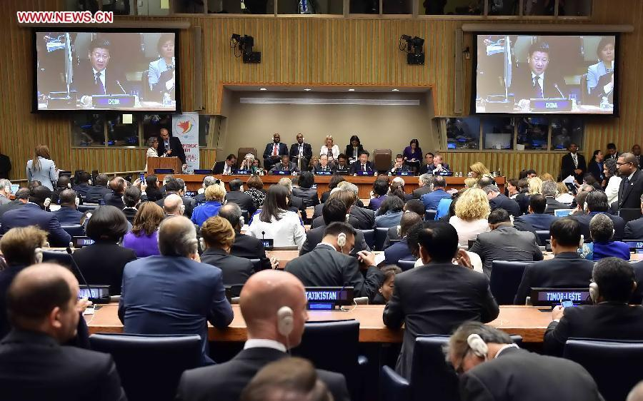 Chinese President Xi Jinping delivers a speech at the Global Leaders\' Meeting on Gender Equality and Women\'s Empowerment at the United Nations headquarters in New York, the United States, Sept. 27, 2015. (Photo: Xinhua/Li Tao)