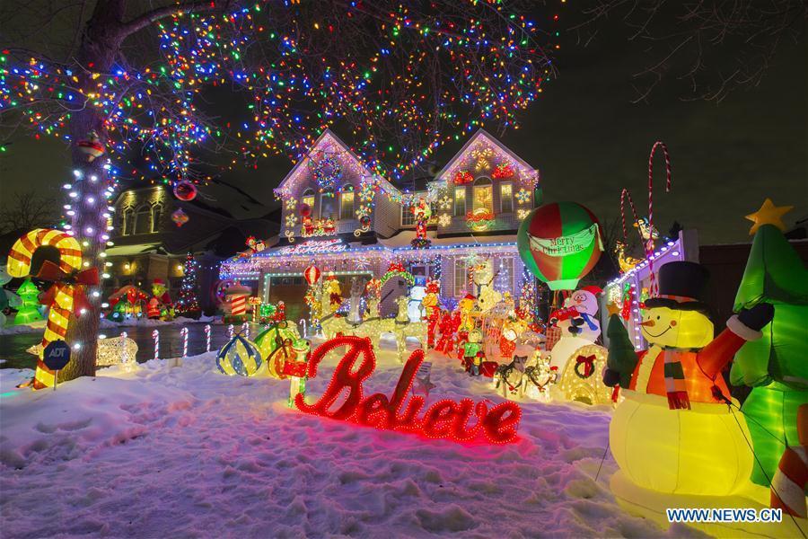 Colorful Christmas Lights On House.Colorful Christmas Lights Seen In Toronto Canada 1 5