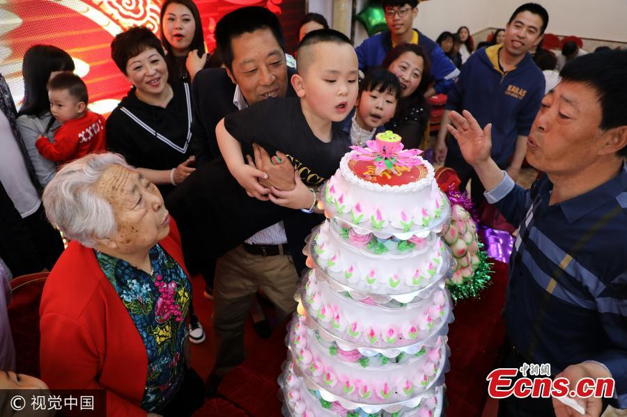 Yi Min Celebrates Her 90th Birthday In The Presence Of Five Generations Family Dandong City Northeast Chinas Liaoning Province May 23 2017