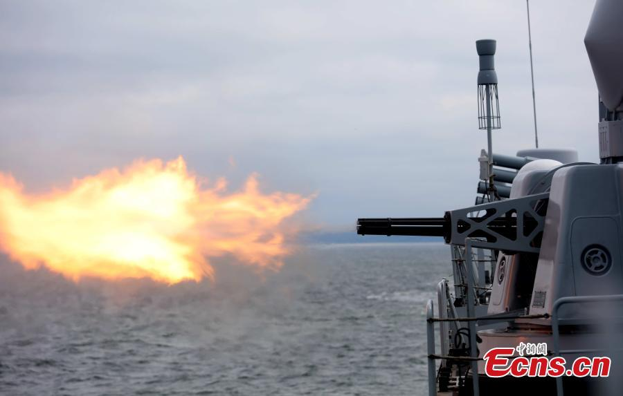 A Chinese warship conducts gun firing exercises during a drill with Russia in the Baltic Sea. The aim of the Joint Sea 2017 drills, which kicked off on Saturday and will last until July 28, is to carry out joint rescue missions and ensure maritime economic activities. The ships, which were divided into two tactical groups, fired their secondary guns at floating targets set by the Russian side. (Photo: China News Service/Wang Xiujun)