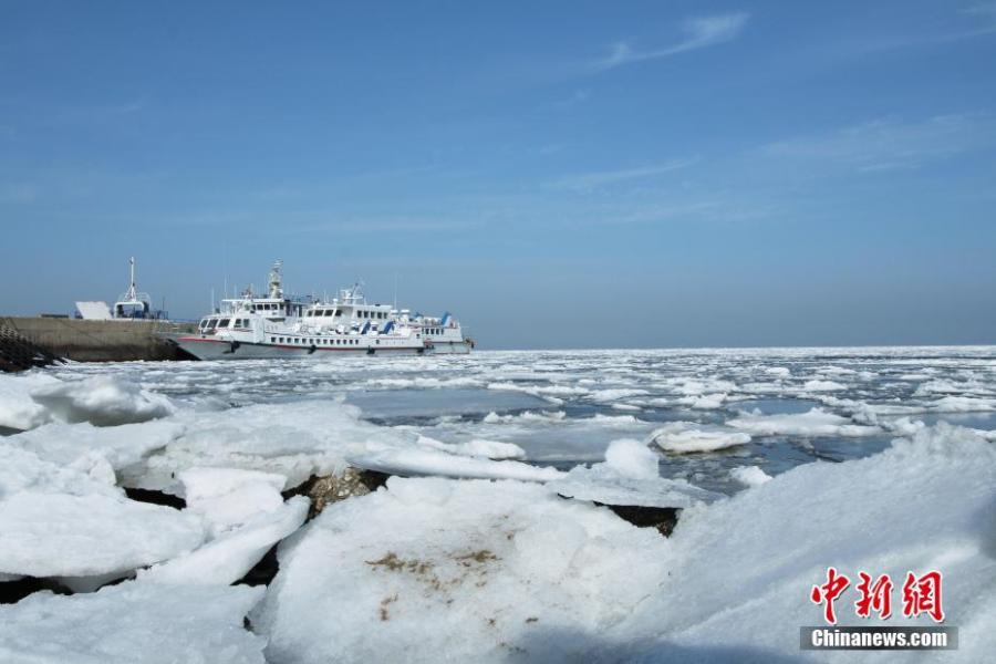 Sea ice covers Yellow Sea in NE China's Dalian(1/7)