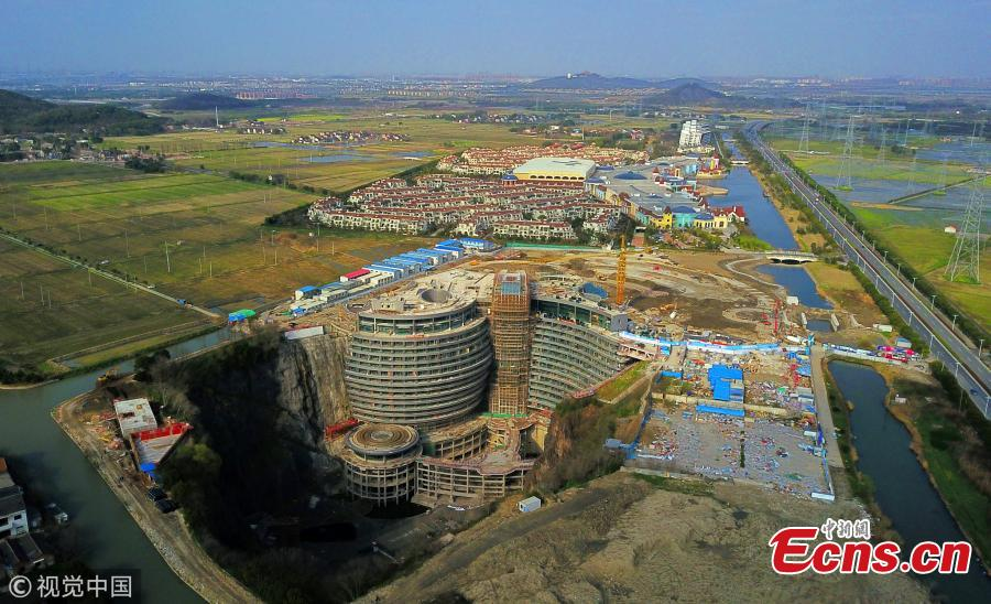 An aerial photo taken on March 17, 2018 shows \