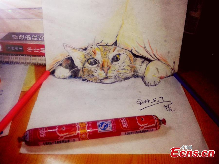 Wang Zhexue, a postgraduate student at Inner Mongolia University of Technology, has created incredibly realistic 3D drawings of animals in order to please his girlfriend, who was said to like pets. Wang has learned about 3D drawing for five years, a hobby to relax his mind in studying science courses. (Photo provided to China News Service)