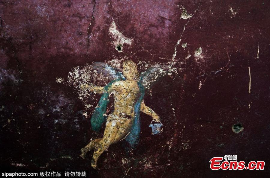 Elaborate wall paintings found at the Pompeii ruins in Italy. (Photo/SipaPhoto)