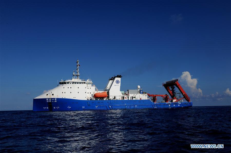 The oceanic research vessel Tansuo-1 berths in the South China Sea, May 21, 2018. Well-known geologist Wang Pinxian, 82, an academician at the Chinese Academy of Sciences, conducted his 3rd dive in the South China Sea on Monday, and it\'s also the 76th successful dive of the submersible Deep Sea Warrior.(Xinhua/Zhang Jiansong)