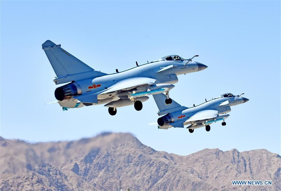 Undated photo shows Chinese Air Force jet fighters attending the \