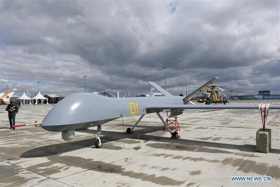 A Chinese-made military drone is displayed at the Kazakhstan Defense Exhibition in Astana, capital of Kazakhstan, May 23, 2018. Seven Chinese military trade companies took their best products to participate in the exhibition held in Kazakhstan from May 23 to 26. (Xinhua/Aibek Abilov)
