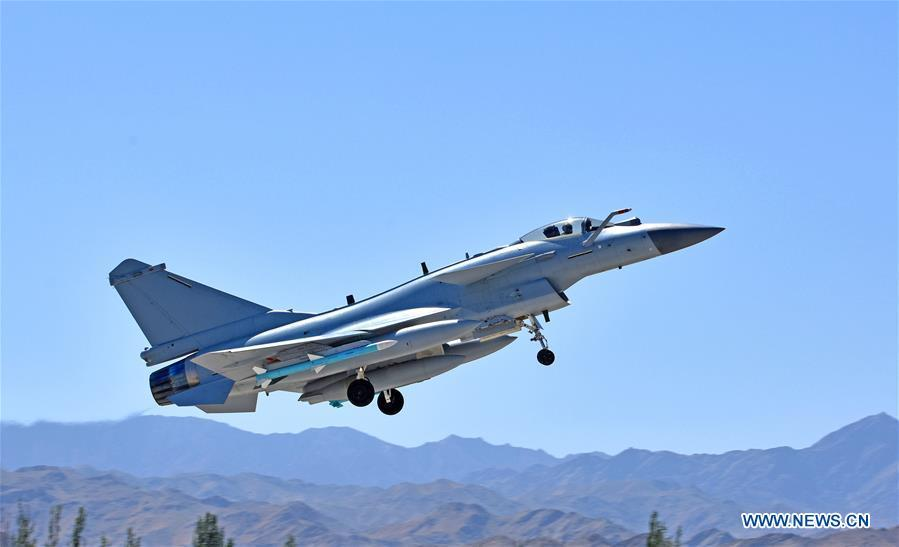 Undated photo shows a Chinese Air Force jet fighter attending the \