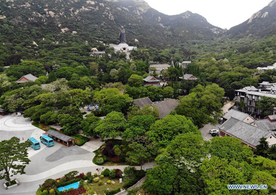 Aerial photo taken on May 21, 2018 shows the Taiqing scenic spot of the Laoshan Mountain in Qingdao, east China\'s Shandong Province. (Xinhua/Li Ziheng)