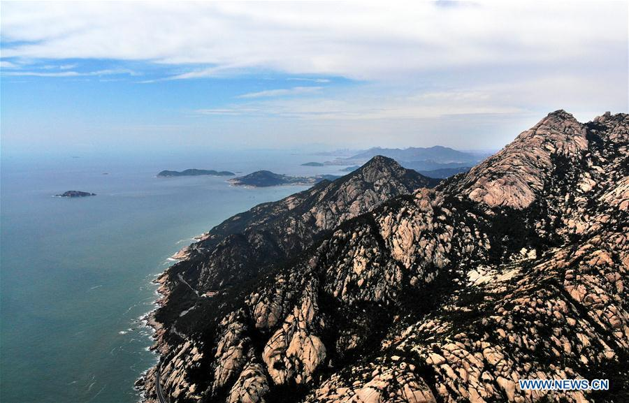 Aerial photo taken on May 21, 2018 shows the Laoshan Mountain in Qingdao, east China\'s Shandong Province. (Xinhua/Li Ziheng)