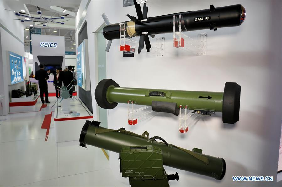Military products of Chinese company Poly Technologies Inc. are displayed at the Kazakhstan Defense Exhibition in Astana, capital of Kazakhstan, May 23, 2018. Seven Chinese military trade companies took their best products to participate in the exhibition held in Kazakhstan from May 23 to 26. (Xinhua/Aibek Abilov)