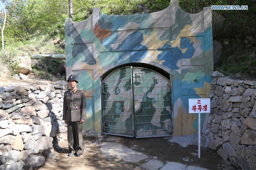Photo taken on May 24, 2018 shows the entrance of the No. 2 tunnel before explosions at the nuclear test site of Punggye-ri, the Democratic People\'s Republic of Korea. The Democratic People\'s Republic of Korea has confirmed the demolition of its nuclear test site at Punggye-ri on Thursday, saying that all the tunnels have been collapsed by explosions and their entrances completely closed, according to the Korean Central News Agency (KCNA). (Xinhua/Cheng Dayu)