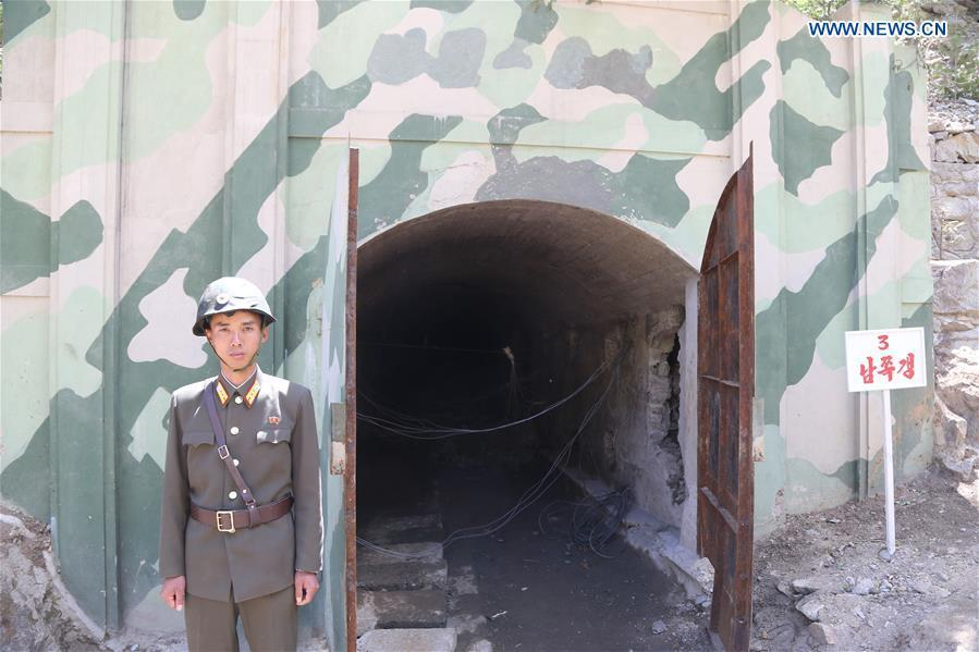 Photo taken on May 24, 2018 shows the entrance of the No. 3 tunnel before explosions at the nuclear test site of Punggye-ri, the Democratic People\'s Republic of Korea. The Democratic People\'s Republic of Korea has confirmed the demolition of its nuclear test site at Punggye-ri on Thursday, saying that all the tunnels have been collapsed by explosions and their entrances completely closed, according to the Korean Central News Agency (KCNA). (Xinhua/Cheng Dayu)