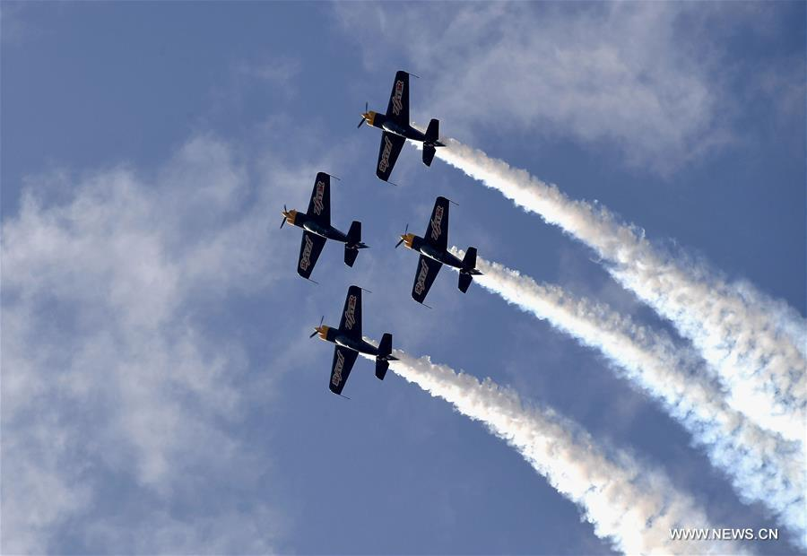 Aerobatics aircrafts perform during a rehearsal for the 10th Air Sports Cultural Tourism Festival in Anyang, central China\'s Henan Province, May 24, 2018. The three-day air show begins on May 25. (Xinhua/Li An)