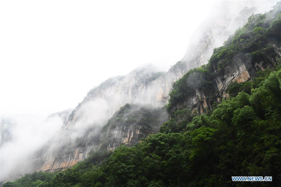 Photo taken on May 25, 2018 shows the scenery of a gorge in Wushan County, southwest China\'s Chongqing Municipality. (Xinhua/Wang Quanchao)