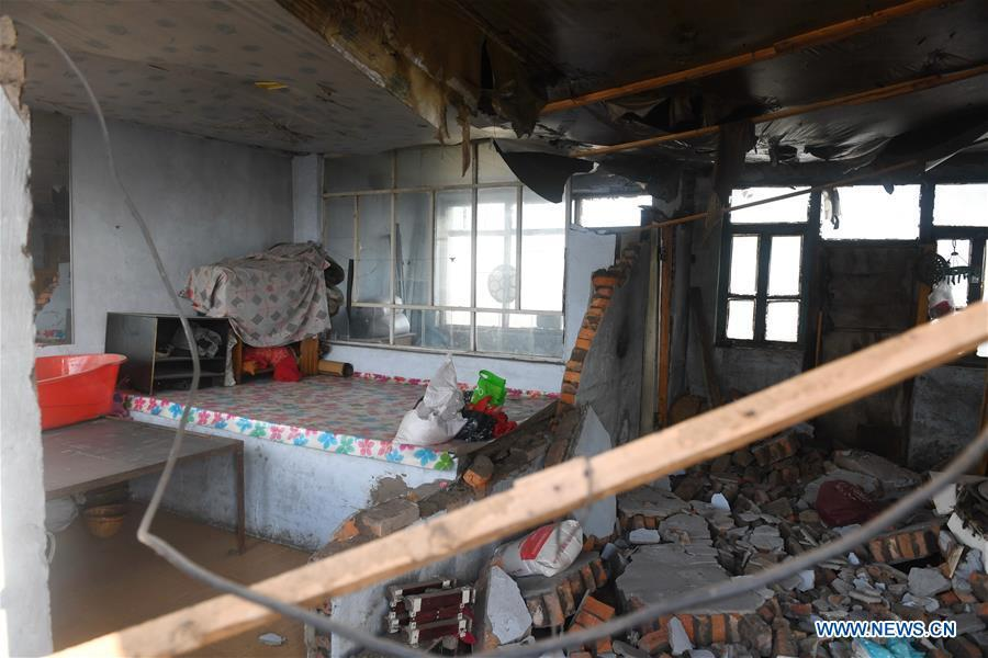 Photo taken on May 28, 2018 shows a damaged house at quake-hit Yamutu Village of Songyuan City, northeast China\'s Jilin Province. An earthquake with a magnitude of 5.7 rocked Ningjiang District, Songyuan City of Jilin Province in early Monday morning. (Xinhua/Zhang Nan)