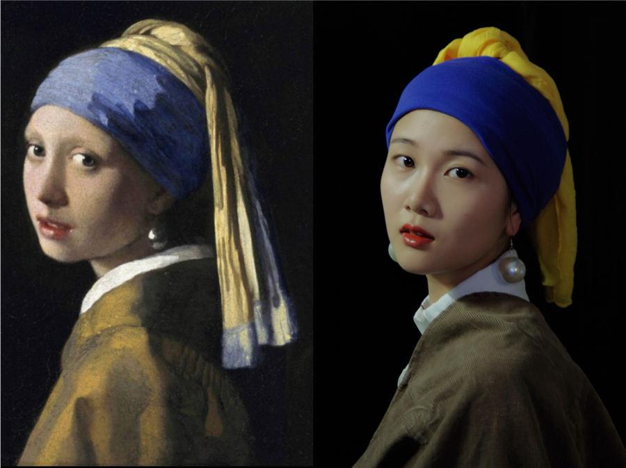 Students from Yunnan University Dianchi College spent two days creating look of a geisha and famous paintings. The artists used no professional lighting or any special effects. (Photo by Zhu Yuhang and Xu Yuya/chinadaily.com.cn)