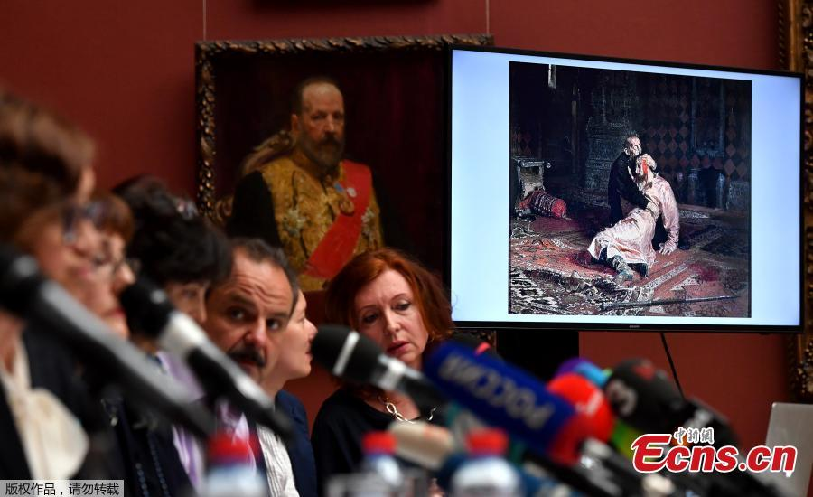 Russian State Tretyakov Gallery officials attend a press conference after Ilya Repin\'s world famous painting of the 16th century Russian Tsar, titled \'Ivan the Terrible and his Son Ivan on November 16, 1581.\' was damaged in Moscow on May 28, 2018. - Russian police on Saturday said they arrested a man for vandalising one of the best known works of 19th century painter Ilya Repin, depicting Ivan the Terrible killing his son, at a gallery in Moscow. (Photo/Agencies)