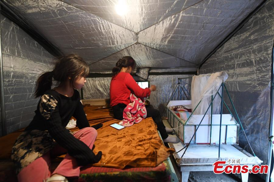 Residents affected by an earthquake stay in a temporary shelter in Songyuan City, Northeast China's Jilin Province, May 28, 2018. An earthquake with a magnitude of 5.7 rocked Ningjiang District, Songyuan City on Monday morning, damaging the houses of more than 1,000 families. Local authorities have provided relief supplies to residents affected by the quake. (Photo: China News Service/Zhang Yao)