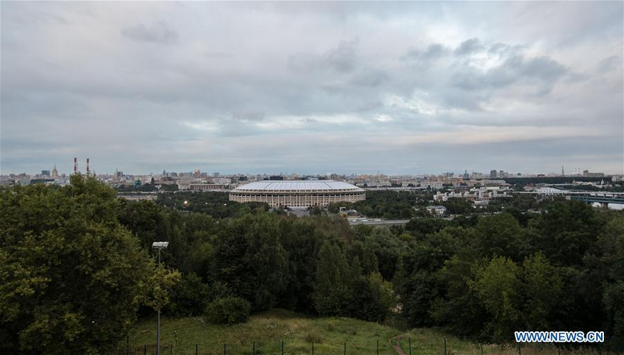 Photo taken on Aug. 29, 2017 shows the outside view of Luzhniki Stadium which will host the 2018 World Cup matches in Moscow, Russia. (Xinhua/Wu Zhuang)