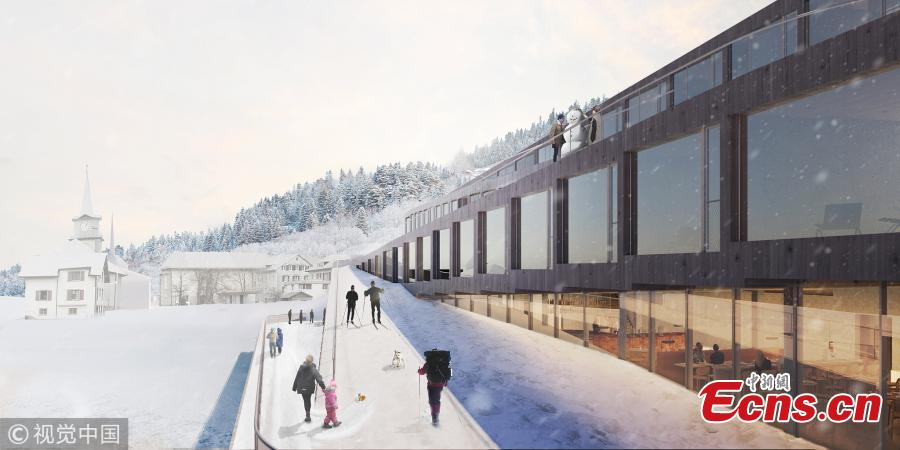 BIG-Bjarke Ingels Group has unveiled images of their proposed Audemars Piguet Hotel des Horlogers, a ski hotel set in the scenic Vallée de Joux, Switzerland. The 70,000 square foot (6,400 square meter) scheme consists of five zig-zagging components, softly tilted to merge into a continuous exterior path from roof to ground, inviting guests to descend on skis towards the trails of the Valle de Joux. (Photo/VCG)