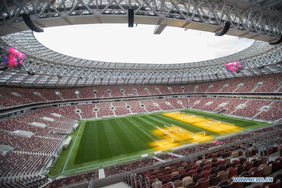 Photo taken on Aug. 29, 2017 shows the inside view of Luzhniki Stadium which will host the 2018 World Cup matches in Moscow, Russia. (Xinhua/Wu Zhuang)