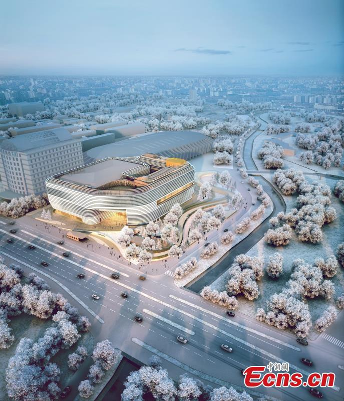 An artist rendering of the National Winter Games Training Stadium. Beijing released the construction plan for Winter Olympics venues and facilities on Thursday. (Photo provided to China News Service.)