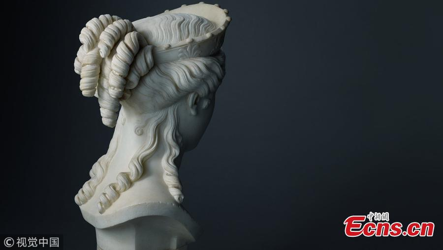 The Bust of Peace, a recently rediscovered white marble sculpture by Antonio Canova (1757-1822), one of the most celebrated and expensive sculptors of the early 19th century. The figure of peace was given to Canova's long-time British patron whose family owned it for generations. The sculpture will be auctioned on July 4, in first public outing in 200 years, and is expected to make over ?1m($1.32m), according to Sotheby's in London. (Photo/VCG)