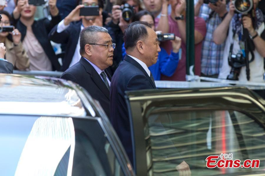 Kim Yong Chol, vice chairman of the ruling Workers\' Party of Korea (WPK) Central Committee, arrives at the U.N. headquarters in New York, U.S., May 30, 2018. As the highest-level DPRK official to visit the United States in 18 years, Kim will meet with U.S. Secretary of State Mike Pompeo this week. (Photo: China News Service/Liao Pan)
