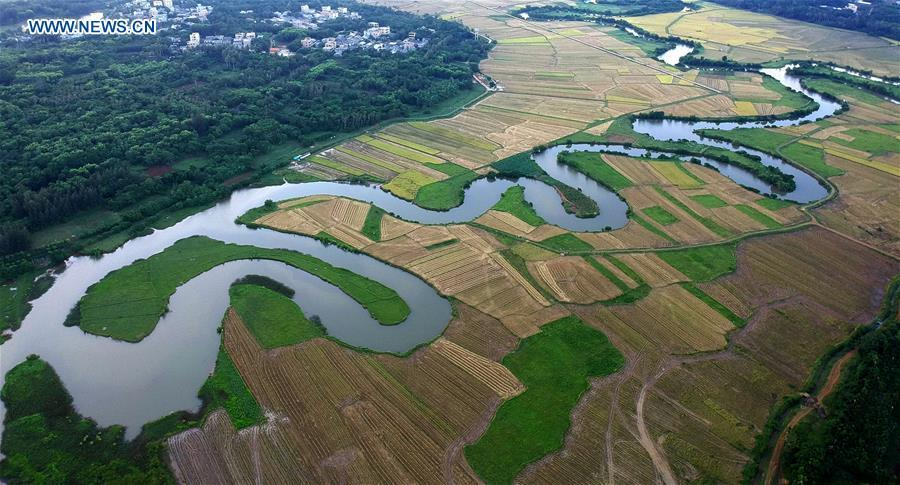 Aerial photo taken on May 30, 2018 shows the Quxi wetland in Haikou City, south China\'s Hainan Province. Efforts made by Haikou City to restore ecosystem have improved the water quality of wetlands, which are expected to play a better role in flood prevention, climate regulation and preservation of the local biodiversity. (Xinhua/Zhao Yingquan)