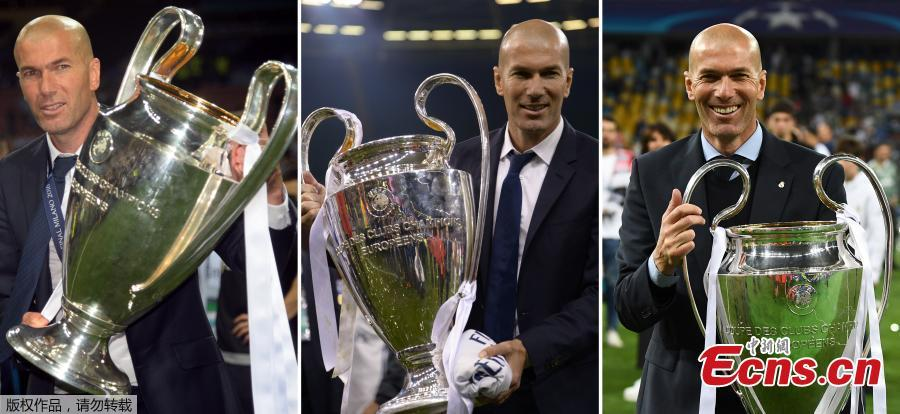 File photo of Real Madrid coach Zinedine Zidane. The 45-year-old former international announced to step down as Real Madrid coach on Thursday, saying that it was time for a change for himself and the club. \