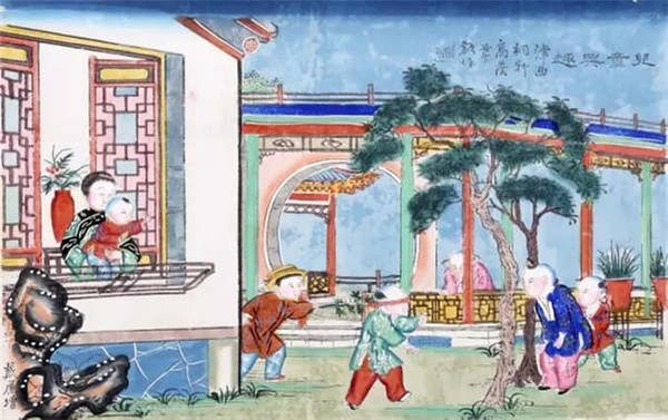 The New Year painting from the Qing Dynasty depicts children playing hide-and-seek. (Photo/Collected by the Capital Museum)