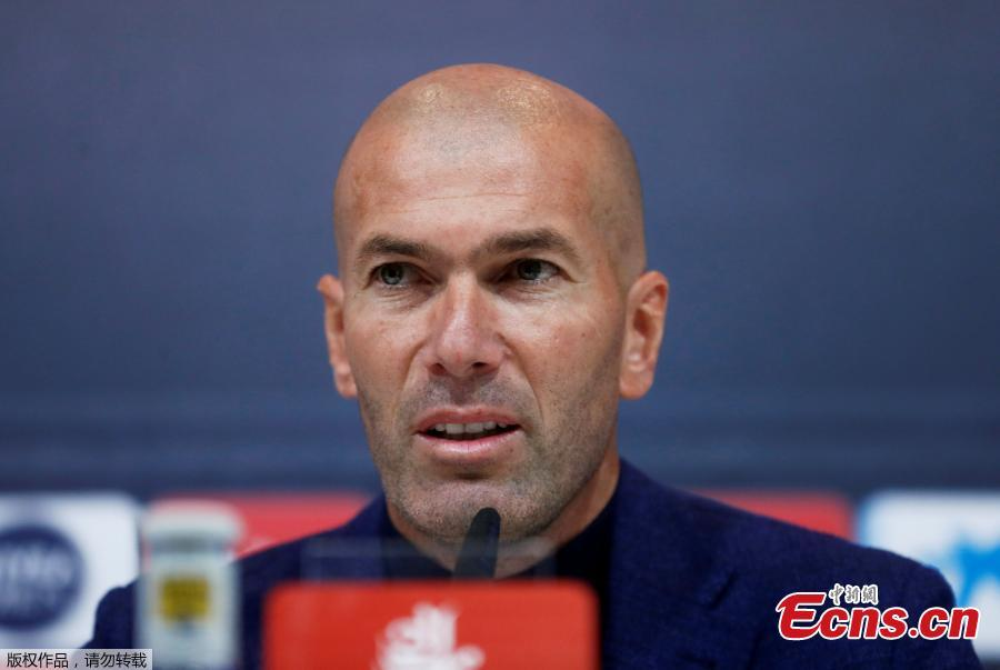 Real Madrid coach Zinedine Zidane speaks at a press conference, May 31, 2018.  The 45-year-old former international announced to step down as Real Madrid coach on Thursday, saying that it was time for a change for himself and the club. \