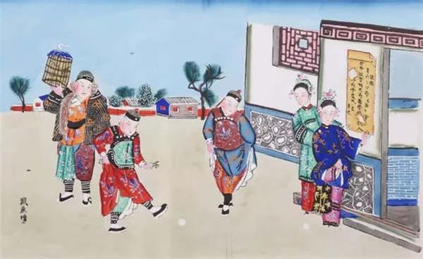 The New Year painting from Qing Dynasty depicts people kicking stone balls in the yard. (Photo/Collected by the Capital Museum)