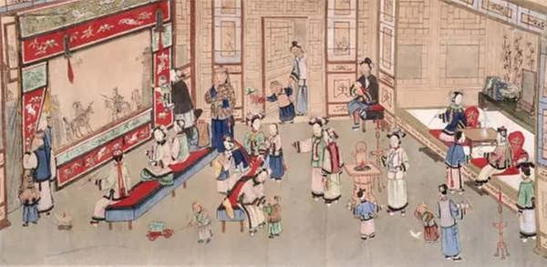 The painting from the Qing Dynasty depicts people watching a shadow play indoors. (Photo/Collected by the Capital Museum)