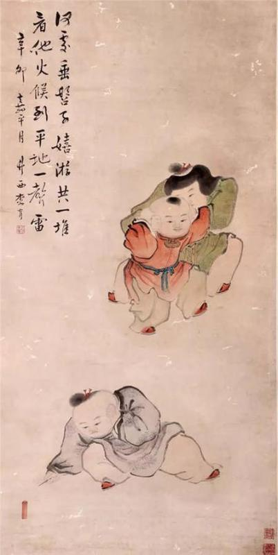 The painting from Qing Dynasty depicts children playing with firecrackers. (Photo/Collected by the Capital Museum)