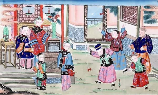 The New Year painting from Qing Dynasty depicts people playing diabolo. (Photo/Collected by the Capital Museum)