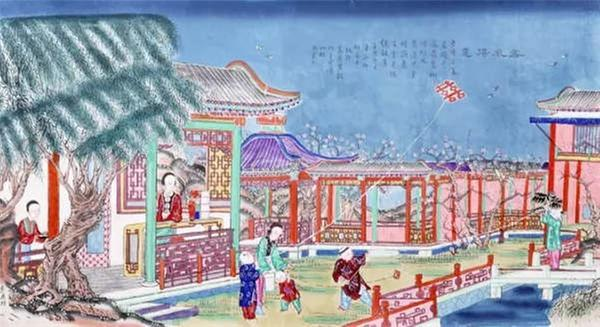 A Yangliuqing New Year painting from the Qing Dynasty depicts children flying kites in the garden. (Photo/Collected by the Capital Museum)