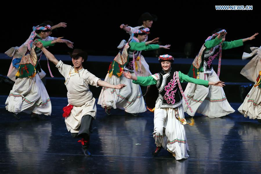 Chinese dancers perform during a folk dance show of the Shanghai Cooperation Organization (SCO) art festival held in Beijing, capital of China, June 1, 2018.