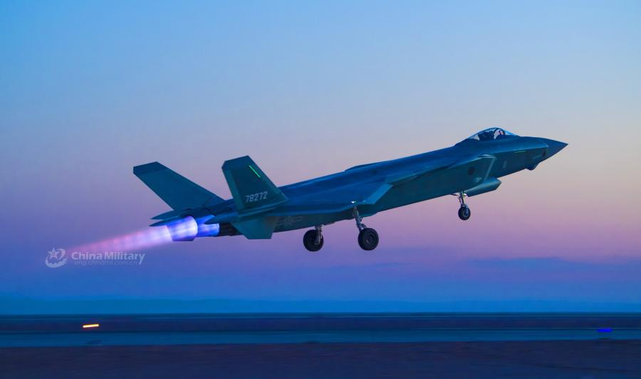 Undated file photo shows China\'s J-20 stealth fighter jet takes off for a night confrontation training mission during a coordinated tactical training exercise with J-16 fighter jets and J-10c fighter jets in an effort to boost the PLA Air Force\'s combat capability. (Photo/eng.chinamil.com.cn)