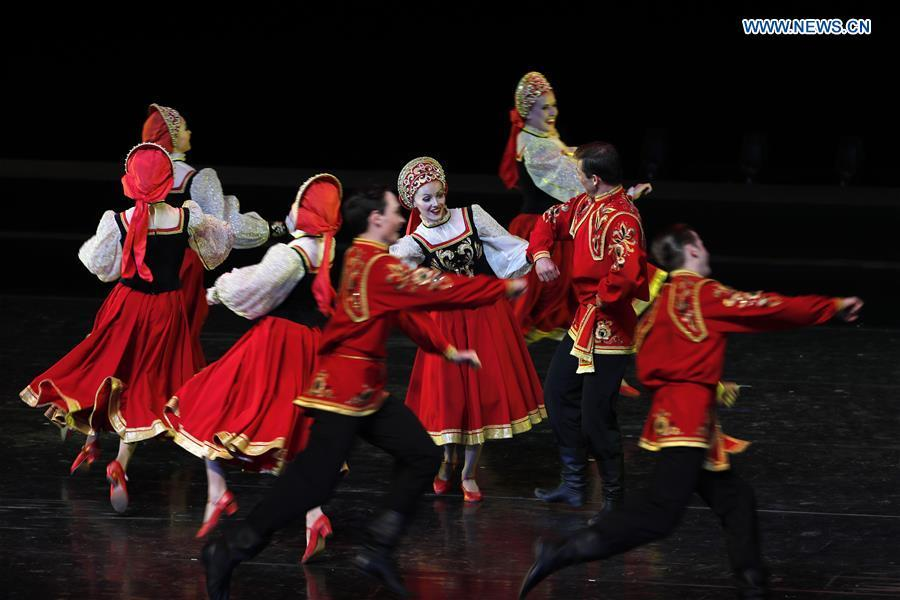 Russian dancers perform during a folk dance show of the Shanghai Cooperation Organization (SCO) art festival held in Beijing, capital of China, June 1, 2018. (Xinhua/Shen Bohan)