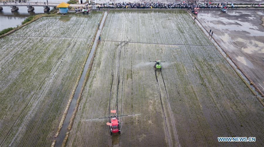 In this aerial photo taken on June 2, 2018, two unmanned sprayers work in a field during the demonstration of an agricultural pilot program featuring unmanned production process in Xinghua, east China\'s Jiangsu Province. (Xinhua/Li Xiang)
