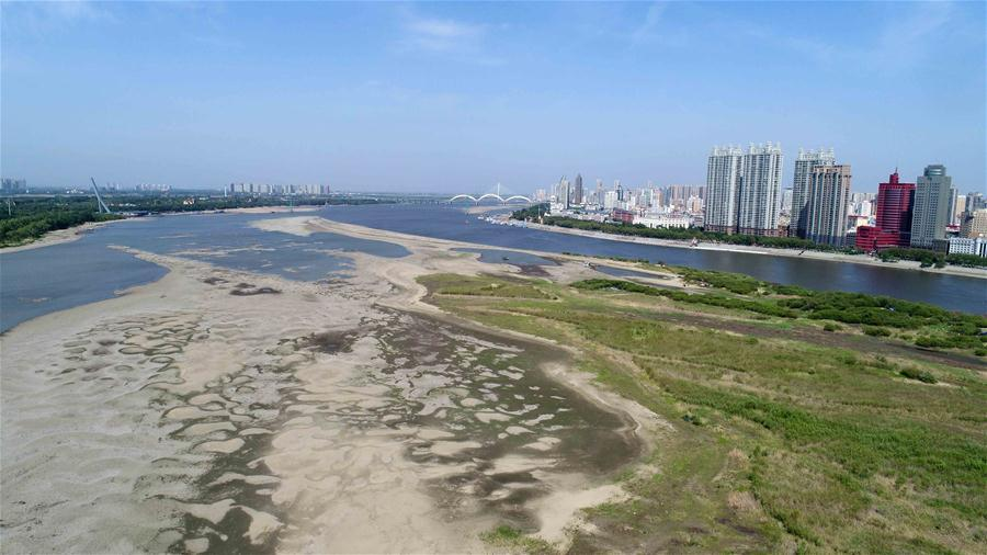 Aerial photo taken on June 2, 2018 shows the dry riverbed of Songhua River in Harbin, northeast China\'s Heilongjiang Province. The water level of Harbin section of Songhua River reduced to 113.55 meters, the lowest for some 11 years, on May 29. (Xinhua/Wang Kai)