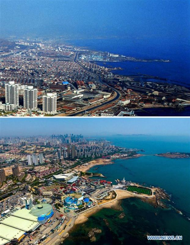 Combined photos show aerial views of Maidao in Qingdao, east China\'s Shandong Province, taken respectively in 1996 (upper) and on May 4, 2018. Development of the coastal city can be seen from the file photos of Qingdao taken by photographer Zhang Yan on a helicopter since 1996 and the new ones taken by drones. Qingdao, as one of the first Chinese cities to open up, was an important port for the Belt and Road, and that people could sense the extensive, profound local culture and the vitality of China\'s reform and opening-up. (Xinhua/Zhang Yan, Li Ziheng)