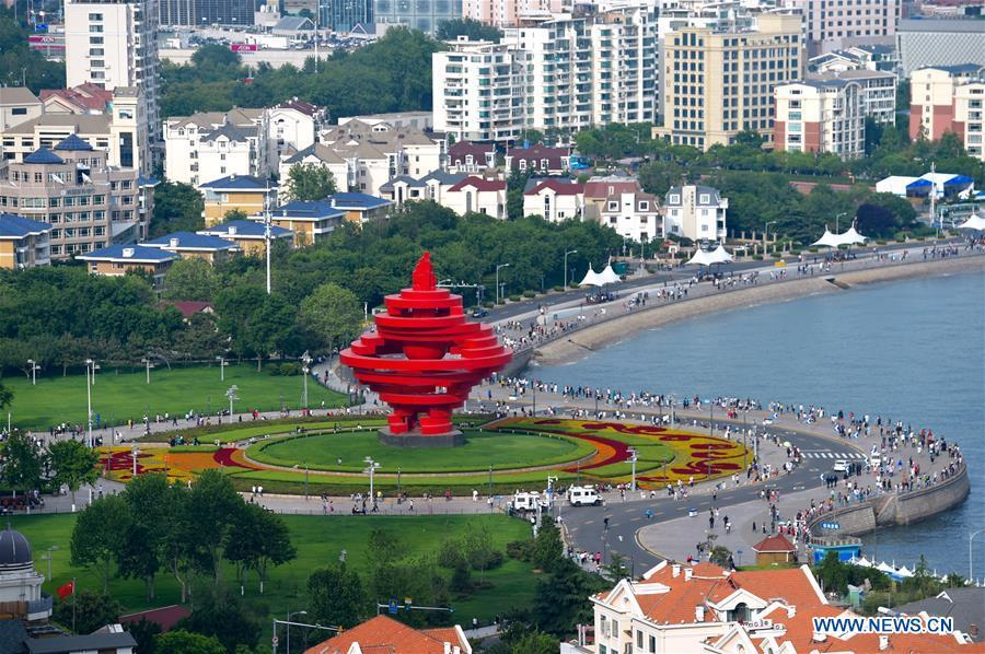 Photo taken on June 2, 2018 shows Wusi Square in Qingdao, east China\'s Shandong Province. The 18th Shanghai Cooperation Organization (SCO) Summit is scheduled for June 9 to 10 in Qingdao. (Xinhua/Jiang Kehong)