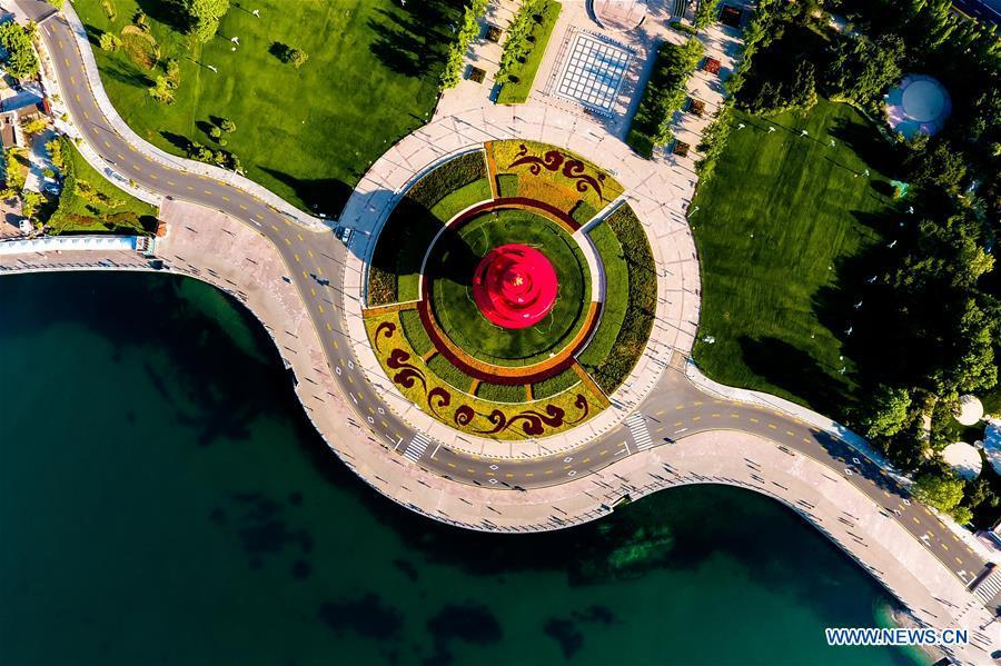 Photo taken on June 1, 2018 shows Wusi Square in Qingdao, east China\'s Shandong Province. The 18th Shanghai Cooperation Organization (SCO) Summit is scheduled for June 9 to 10 in Qingdao. (Xinhua/Guo Xulei)